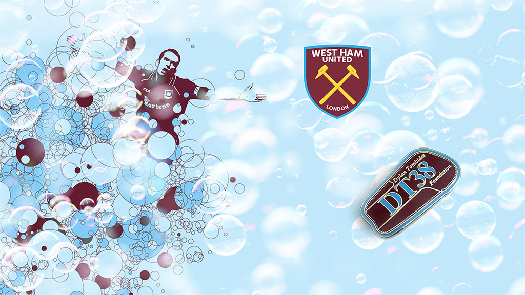 West Ham football pin badge suppliers - custom made in a shin pad design for the DT38 foundation
