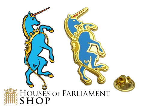 Unicorn enamel badges custom made for the House Of Commons shop