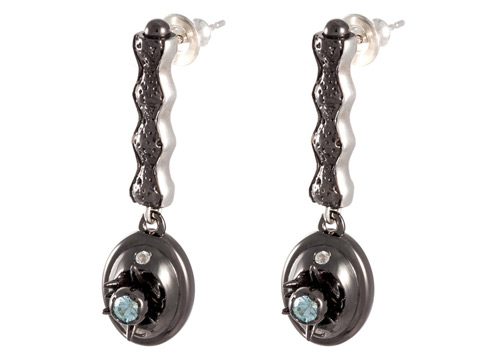 modern black drop earrings with diamonds and precious zircons