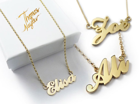 personalised gold Carrie name necklaces