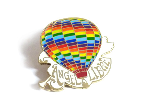 custom multi colour enamel badge of a hot air balloon