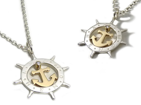 bespoke anchor and ships wheel pendant with diamond and two tone silver, gold
