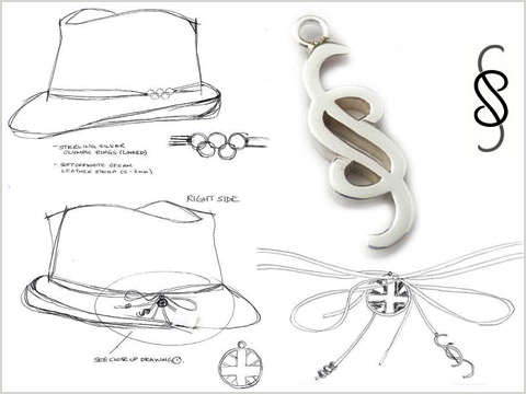 bespoke hat pin handmade from silver for the 2012 Olympics