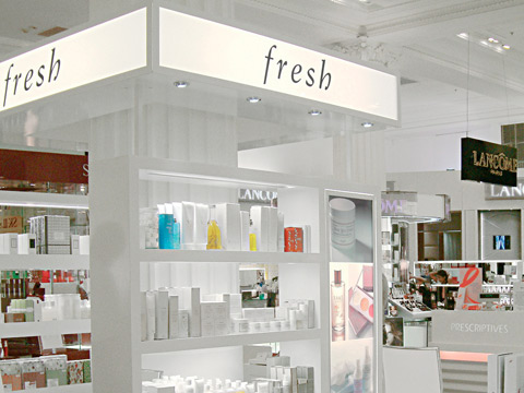 Fresh® skin care cosmetic company branding in Selfridges department store.