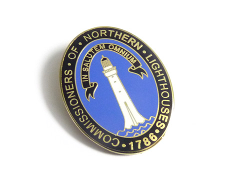 Custom enamel pin badges made for Northern Lighthouses.