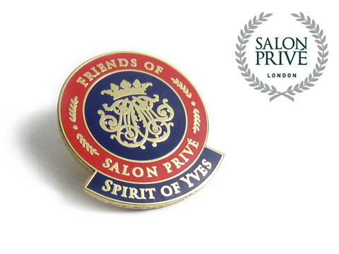 Luxury enamel badges made with the Salon Prive events logo.