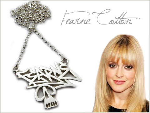 personalized silver name tag handmade for Fearne Cotton
