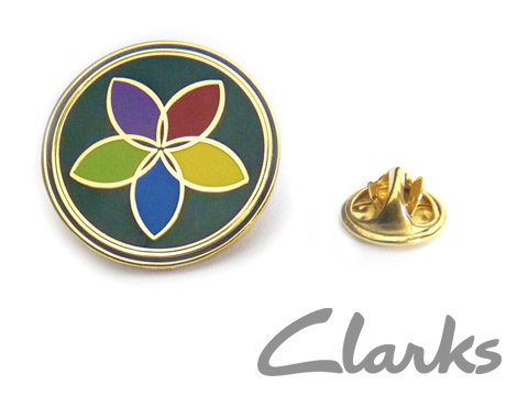 customised enamel badges custom made for Clarks
