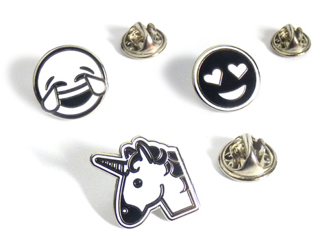 black and white emoji enamel lapel pins