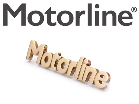 Handmade bespoke bronze pin badges for Motorline