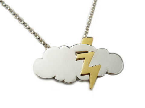 bespoke cloud necklace with gold lightning strike